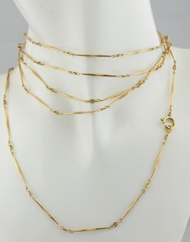 LATE VICTORIAN BEAUTIFUL 14 KT SOLID GOLD 150 CM LONG GUARD CHAIN!