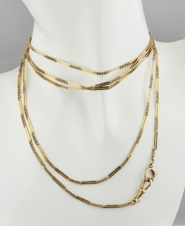 FANTASTIC GENUINE ART DECO SOLID GOLD 155 CM LONG GUARD CHAIN!