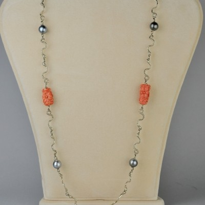 FABULOUS VINTAGE CARVED CORAL TAHITIAN PEARL SNAKE LINK NECKLACE!