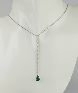SENSATIONAL 1.0 CT NATURAL EMERALD & DIAMOND TIMELESS LONG NECKLACE!