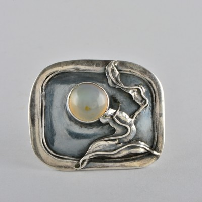 AUSTRO HUNGARIAN GENUINE ART NOUVEAU MOONSTONE RARE LARGE SILVER BROOCH!