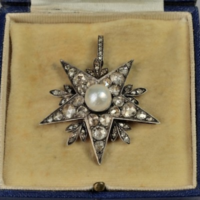 SPECTACULAR VICTORIAN NATURAL PERSIAN PEARL 4.50 CT DIAMOND RARE STAR PENDANT!