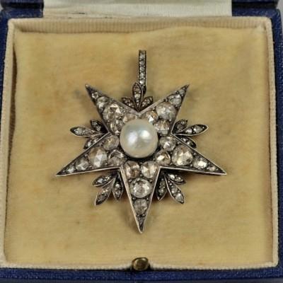 Victorian 4.50 Ct rose cut Diamond Natural Pearl Rare Star Pendant