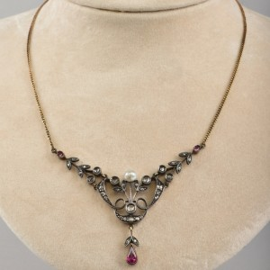 GENUINE EDWARDIAN DIAMOND RUBY PERSIAN PEARL ANTIQUE SWAG NECKLACE!