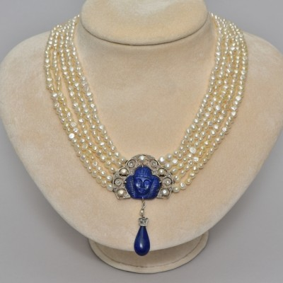 ART DECO EGYPTIAN REVIVAL LAPIS DIAMOND NATURAL PEARL PLATINUM RARE NECKLACE!
