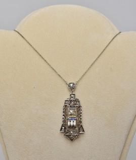APPEALING GENUINE ART DECO 1.40 CT ROSE DIAMOND NECKLACE ROARING 20'S!