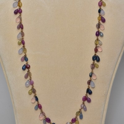SPECTACULAR 200 CT SAPPHIRE RUBY MOONSTONE & MORE RARE OLD NECKLACE!