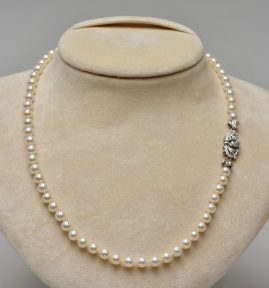 FINE QUALITY 1950 DIAMOND CLASP JAPANESE SEA PEARL NECKLACE!