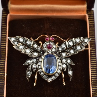 MAJESTIC 5.80 CT NATURAL SAPPHIRE 2.0 CT DIAMOND RUBY RARE ANTIQUE FLY BROOCH!