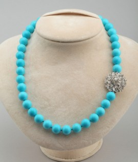 A STUNNING & EXCLUSIVE 1960 NATURAL PERSIAN TURQUOISE NECKLACE DIAMOND CLASP!