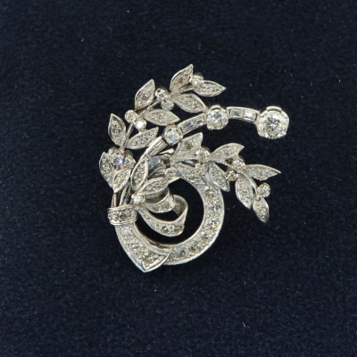 PLATINUM ART DECO 3.05CT DIAMOND SPRAY BROOCH