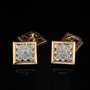 SPECTACULAR ROSE GOLD and DIAMOND GENTS RETRO CUFFLINKS