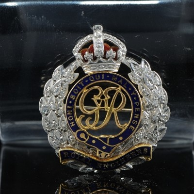 ENAMEL and DIAMOND ROYAL ENGINEERS BADGE PIN
