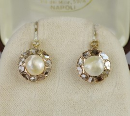 GENUINE VICTORIAN NATURAL BASRA PEARL ROSE CUT DIAMOND DROP EARRINGS!