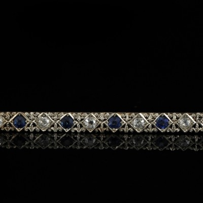 SPECTACULAR ART DECO DIAMOND & SAPPHIRE LONG BAR BROOCH FROM THE 20'S!