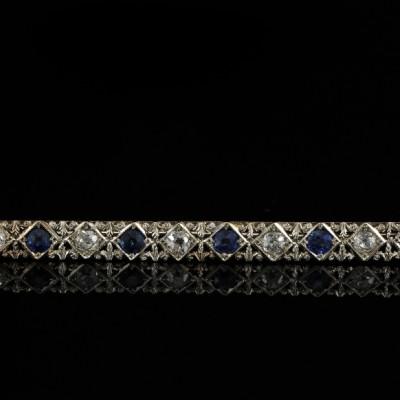 SPECTACULAR ART DECO DIAMOND & SAPPHIRE LONG BAR BROOCH FROM THE 20'S!