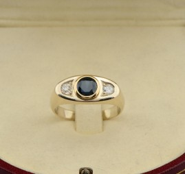 VICTORIAN 1.50 CT SAPPHIRE .40 CT OLD MINE DIAMOND GENT'S GIPSY RING!