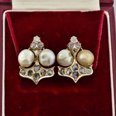SPECTACULAR MID VICTORIAN NATURAL BASRA PEARL & DIAMOND EARRINGS!