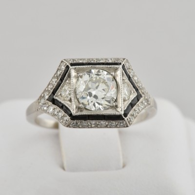 PUREST ART DECO 1.60 CT DIAMOND SOLITAIRE PLATINUM RING 1920!