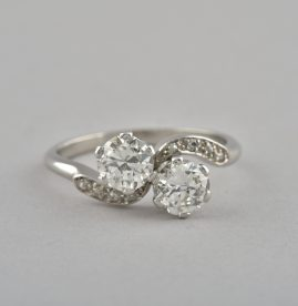 GENUINE ART DECO 1.45 CT DIAMOND TWIST RING PLATINUM 1925 CA!