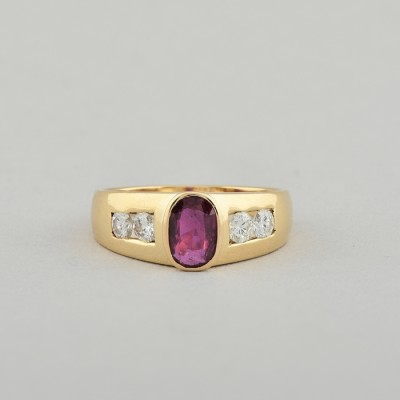 SUPERLATIVE 1.0 CT NATURAL RUBY .60 CT F IF DIAMOND VINTAGE RING!