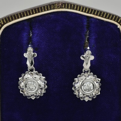 GORGEOUS & FEMININE .65 CT DIAMOND DROP EARRINGS!
