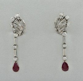 LATE ART DECO 1.25 CT DIAMOND 1.50 CT NATURAL RUBY UNIQUE SPRAY EARRINGS!