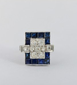 STUNNING ART DECO 2.40 CT SAPPHIRE 2.40 OLD DIAMOND RARE RING!