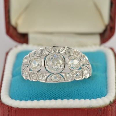 SPECTACULAR EARLY ART DECO 2.20 CT OLD DIAMOND RARE RING!