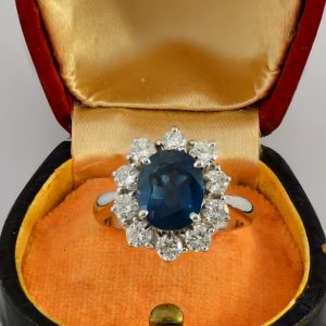 LUXURY 3.70 CT NATURAL SAPPHIRE 1.0 CT DIAMOND DREAMING VINTAGE RING!