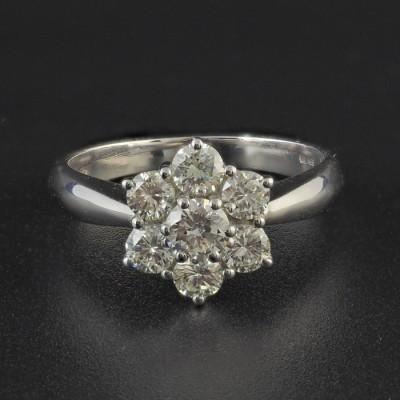 FANTASTIC 1.40 CT H VVS DIAMOND FINE SEVEN STONE DAISY CLUSTER RING!