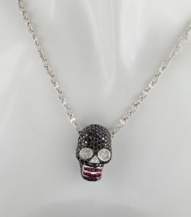 BREATHTAKING 4.20 CT DIAMOND & RUBY SKULL HEAD NECKLACE- WOW!