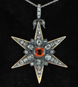 EARLY VICTORIAN NO HEAT RARE NATURAL SAPPHIRE 6.30 CT OLD MINE DIAMONDS LARGE STAR PENDANT