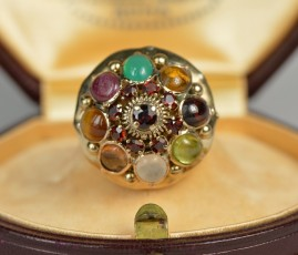 LATE VICTORIAN BEAUTIFUL MULTIGEM HAREM RING!