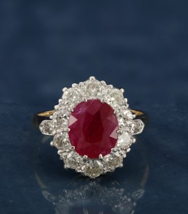 OUTSTANDING LATE VICTORIAN 3.0 CT NATURAL RUBY 1.42 CT OLD DIAMOND RARE RING!