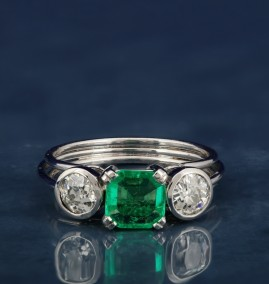 EXTREMELY FINE ART DECO COLOMBIAN EMERALD & OLD DIAMOND TRILOGY RING!