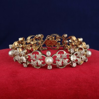 ART NOUVEAU 9.50 CT OLD CUT DIAMOND TRIO OF NATURAL PEARL RARE 1895 CA BRACELET!