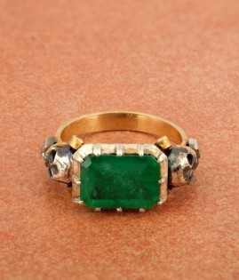 ANTIQUE REINASSANCE REVIVAL 6.0 CT REAL EMERALD & DIAMOND MEMENTO MORI RARE RING