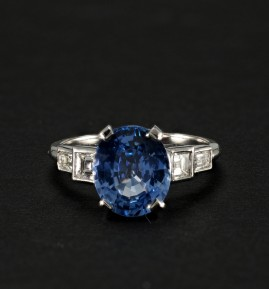 4.31 CT NATURAL NO HEAT CEYLON SAPPHIRE AND DIAMOND QUALITY VINTAGE RING!