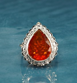 A SPECTACULAR LATE ART DECO LARGE FIRE OPAL & DIAMOND RING 1935 CA!