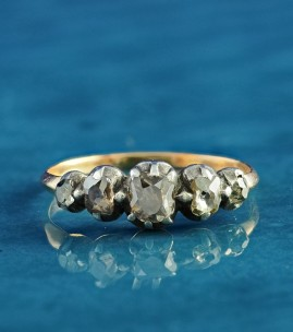 DELIGHTFUL GEORGIAN 1.0 CT FANCY DIAMOND FIVE STONE RING 1790 CA!