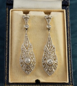 EDWARDIAN 2.95 CT DIAMOND STUNNING DROP EARRINGS 1900 CA!