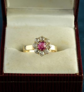 VICTORIAN .60 CT BURMESE RUBY 1.40 DEEP OLD CUT DIAMOND RARE RING!