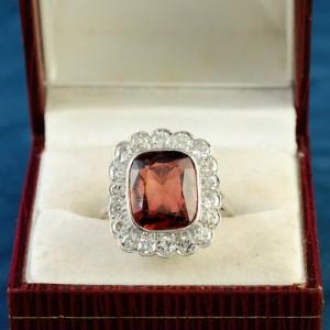 AN IMPRESSIVE EDWARDIAN MADEIRA CITRINE & DIAMOND PLATINUM RING 1900 CA!