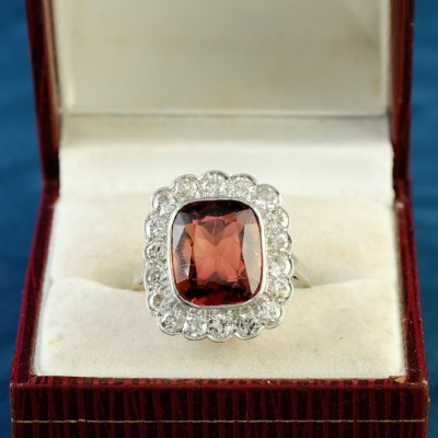 AN IMPRESSIVE EDWARDIAN MADEIRA CITRINE & DIAMOND PLATINUM RING 1900 CA!