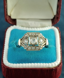 DISTINCTIVE REAL DECO 1.0 CT OLD CUT DIAMOND RARE AUSTRO HUNGARIAN RING!