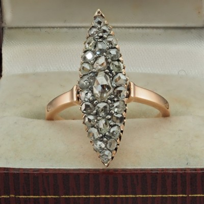 ADORABLE VICTORIAN 1.35 CT ROSE CUT DIAMOND RARE 1880 MARQUEE SHAPE RING!