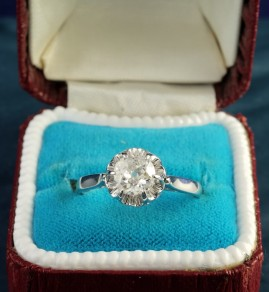 EARLY ART DECO .85CT OLD DIAMOND SOLITAIRE SPREADS 1.0CT G VS2 SENSATIONAL RING