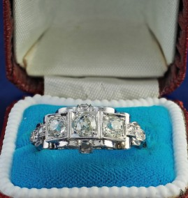 A CHARMING ART DECO 1.50 CT OLD DIAMOND G VVS – VS TRILOGY RING!