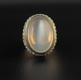 OUTSTANDING 14.4 CT NATURAL MOONSTONE & DIAMOND LARGE VINTAGE RING OF HIGH CLASS!